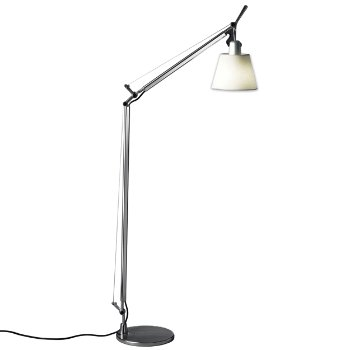 Tolomeo with shade reading floor lamp parchment open for Tolomeo reading floor lamp with parchment shade