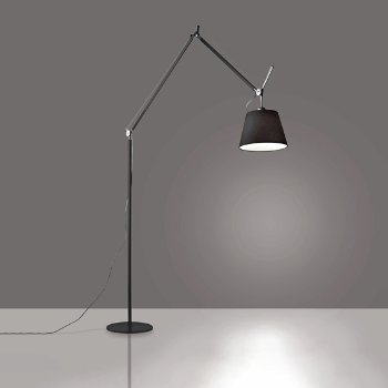 Shown in Black finish, Black shade, 12 inch size