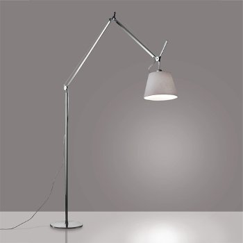 Shown in Aluminum finish, Pale Grey shade, 14 inch size