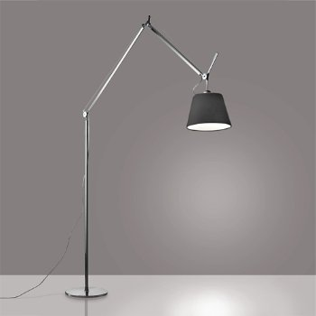 Shown in Black finish, Pale Grey shade, 14 inch size, lit