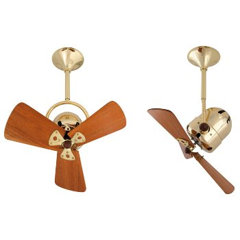 Shown in Wood Blades with Polished Brass finish