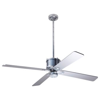 Shown in Silver fan blade finish with Galvanized fan body finish, No Light