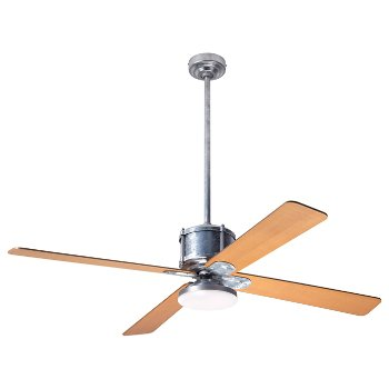 Shown in Maple fan blade finish with Galvanized fan body finish, LED