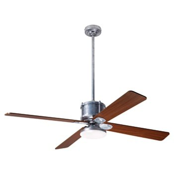 Shown in Mahogany fan blade finish with Galvanized fan body finish, LED