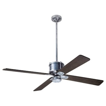 Shown in Graywash fan blade finish with Galvanized fan body finish, No Light