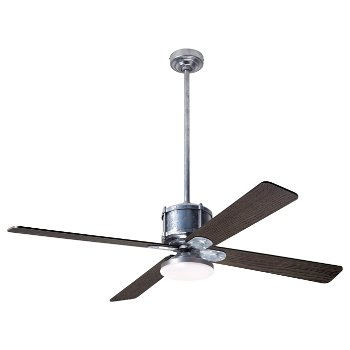 Shown in Graywash fan blade finish with Galvanized fan body finish, LED