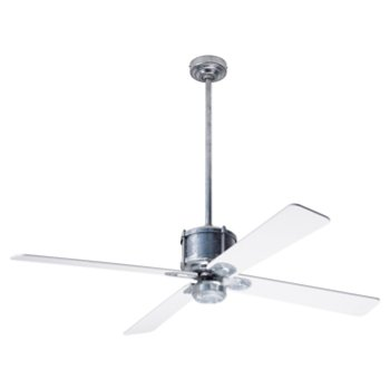 Shown in White fan blade finish with Galvanized fan body finish, No Light