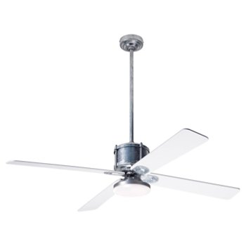 Shown in White fan blade finish with Galvanized fan body finish, LED