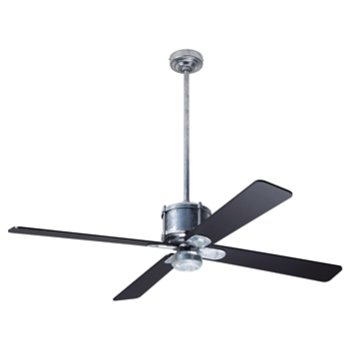 Shown in Black fan blade finish with Galvanized fan body finish, No Light
