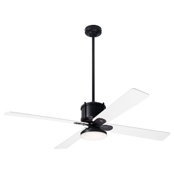 Shown in White fan blade finish with Dark Bronze fan body finish, LED