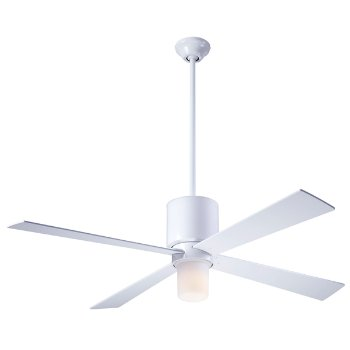 Shown in Gloss White finish with White blades, LED Light