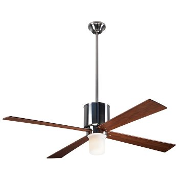 Shown in Brushed Nickel finish with Mahogany blades, LED Light