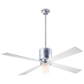 Shown in Galvanized finish with White blades, LED Light