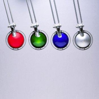 Shown in Aluminum finish, Red, Green, Blue, Aluminum shade