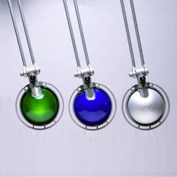 Shown in Aluminum finish, Green, Blue, Aluminum shade