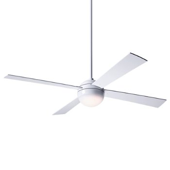 Shown in Gloss White finish and White blades, LED Light