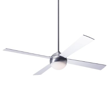 Shown in Brushed Aluminum finish with White blades, LED Light