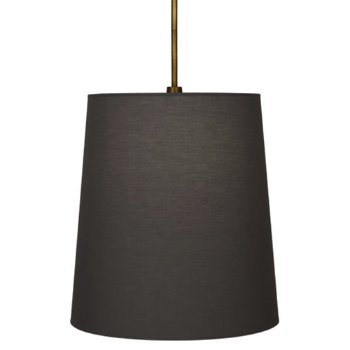 Shown in Aged Brass with Smoke Gray Fabric