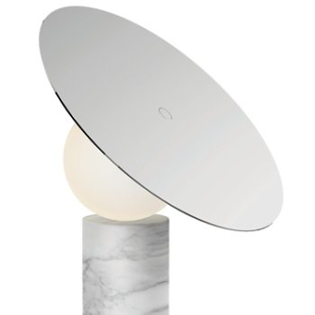 Shown in Carrara white Marble Base with Chrome shade