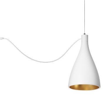 Shown in White with Brass finish, Narrow