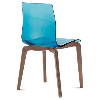 Shown in Transparent Blue, Walnut finish