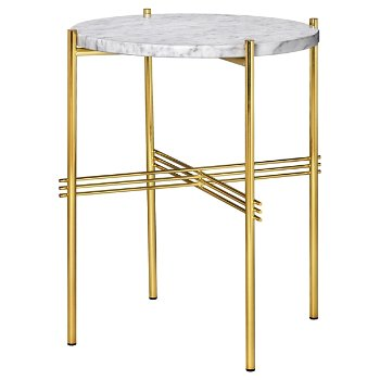 Shown in White Marble Top finish, Brass Base finish
