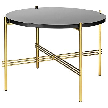 Shown in Graphite Black Glass Top finish, Brass Base finish