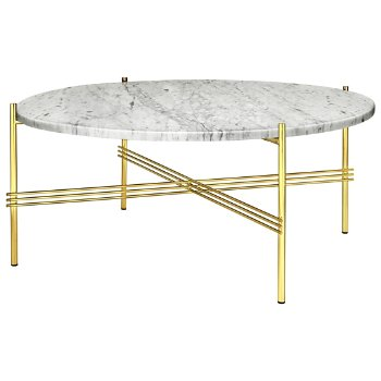 Shown in White Carrara Marble Top finish, Brass Base finish