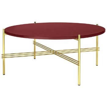 Shown in Rusty Red Glass Top finish, Brass Base finish