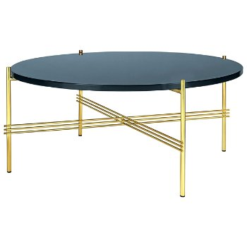 Shown in Blue Gray Glass Top finish, Brass Base finish