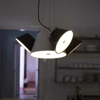 Shown in Off-White Central Shade, Black Outer Shade, lit, in use