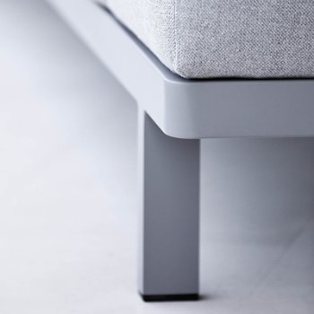 Shown in Light Grey fabric, Powder Coated Aluminum Frame finish, Detail View