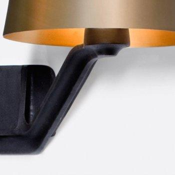 Shown in Brass shade, lit, Detail view