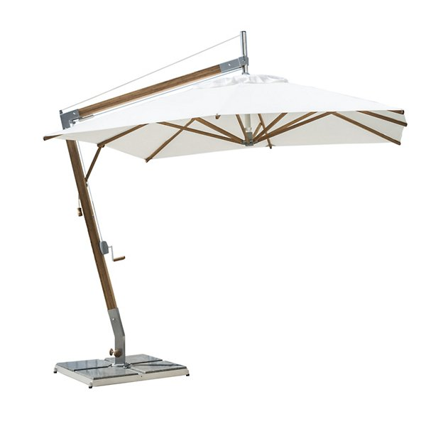 Sirocco Square Side Wind Bamboo Cantilever Umbrella With Base