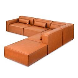 Mix Modular 5 Piece Sectional Left Facing - Vegan Appleskin