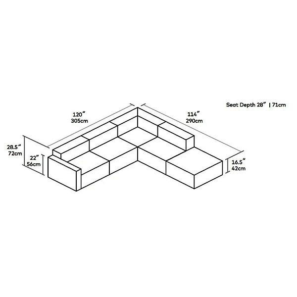 Mix Modular 5 Piece Sectional Left Facing - Vegan Appleskin