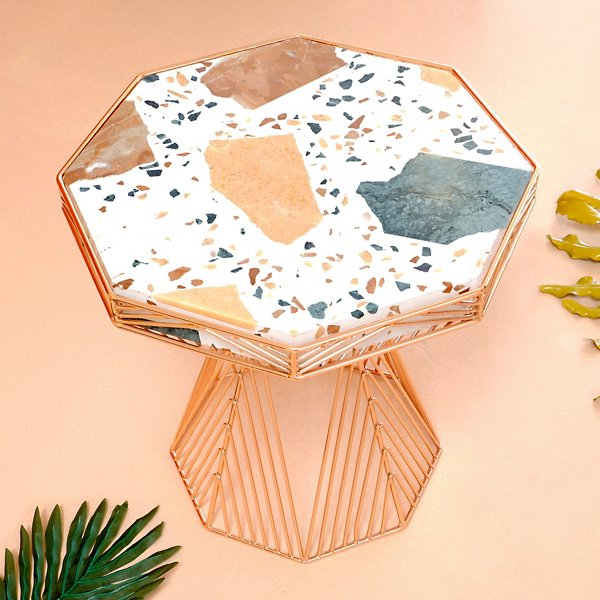 Switch Stool/Side Table with Terrazzo Top