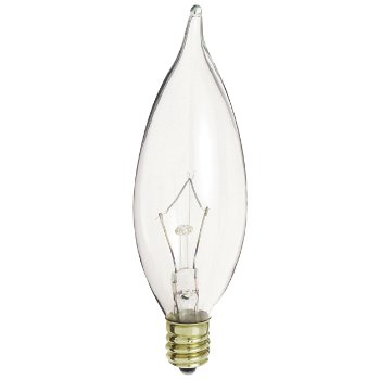 40W 120V CA10 E12 Flame Tip Clear Bulb 6-Pack