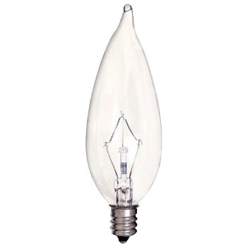 40W 120V CA9 1/2 E12 Flame Tip Krypton Clear Bulb 6-Pack