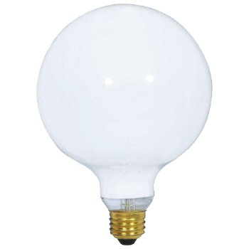 40W 120V G40 E26 Gloss White Bulb 2-Pack