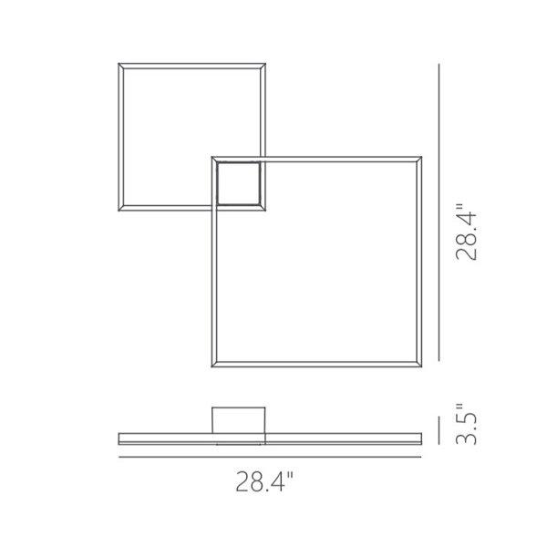 Fractal LED Asymmetric Semi-Flushmount