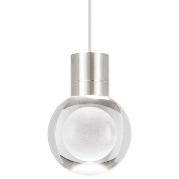 Mina Mini Pendant shown in Satin Nickel finish, White Cord