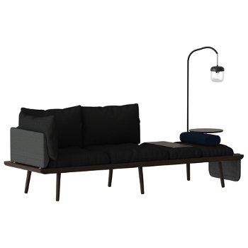 Lounge Around 3-Seat Platform Sofa with Lounge Around Table Accessory, Light Around Sofa Lamp, Lounge Around Side Magazine Pocket and  Lounge Around Sofa Side Pillow