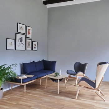 Lounge Around 3-Seat Platform Sofa with Lounge Around Table Accessory, A Conversation Piece Lounge Chair, Reader Lounge Chair and Hang Out Coffee Table