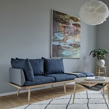 Lounge Around 3-Seat Platform Sofa with Eos Pendant Light, Hang Out Coffee Table and My Spot Side Table
