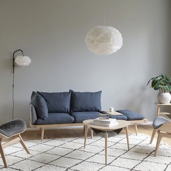 Lounge Around 3-Seat Platform Sofa with Eos Pendant Light, Hang Out Coffee Table, A Conversation Piece Lounge Chair and My Spot Side Table
