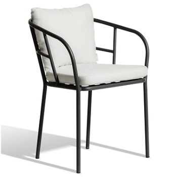 Shown in Charcoal Grey finish, Natural White Sunbrella fabric