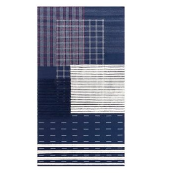 Shown in Indigo color, 4 ft 11 in x 9 ft 2 in size