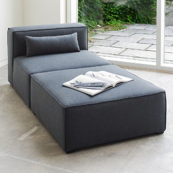 Mix Modular Ottoman with Mix Modular Armless Chair
