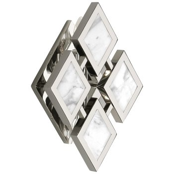 Shown in White marble color, Polished Nickel finish